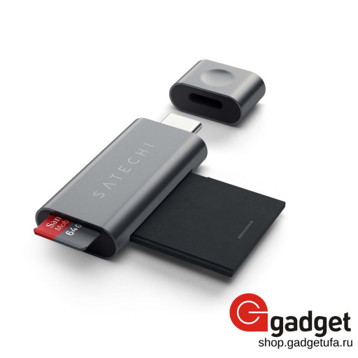 Картридер Satechi Aluminum Type C Micro/SD CARD Reader - темно-серый